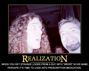 """Weird Al Yankovic and Craig """"Voiceroy"""" Crumpton at the 2004 San Diego Comic-Con. (Demotivator caption by Steve Helling.)"""