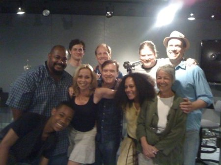 Voice cast photo from a Batman: The Brave and The Bold recording session. Pictured: (back row) Kevin Michael Richardson, Tom Everett Scott, Jeff Bennett, John DiMaggio, Diedrich Bader. Front row: Tyler James Williams, Tara Strong, Billy West, Cree Summer, and voice director Andrea Romano.