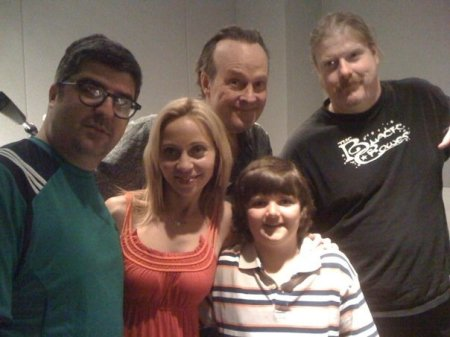 Voice cast photo from the last (?!?) recording session for 'Chowder'. Pictured: Dana Snyder, Tara Strong, Dwight Schultz, Nicky Jones, and John Di Maggio.
