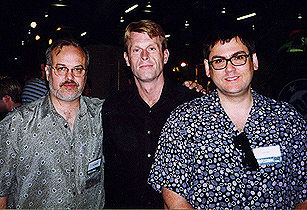 Alan Burnett, Kevin Conroy, and Paul Dini at Wizard World Chicago 1998. (Photo by Craig Crumpton)