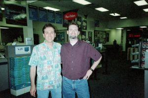 Corey Burton and Craig Crumpton pose at Kinko's in July 2003.