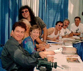 L to R: Roger Rose, Debbie Derryberry, Jess Harnell, Billy West, Jim Cummings, Mark Hamill